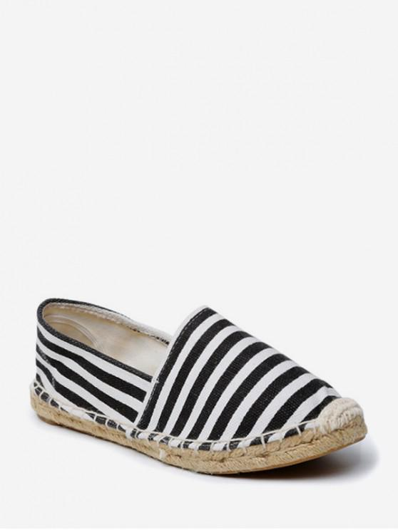 women's Casual Striped Espadrille Flat Shoes - BLACK EU 39