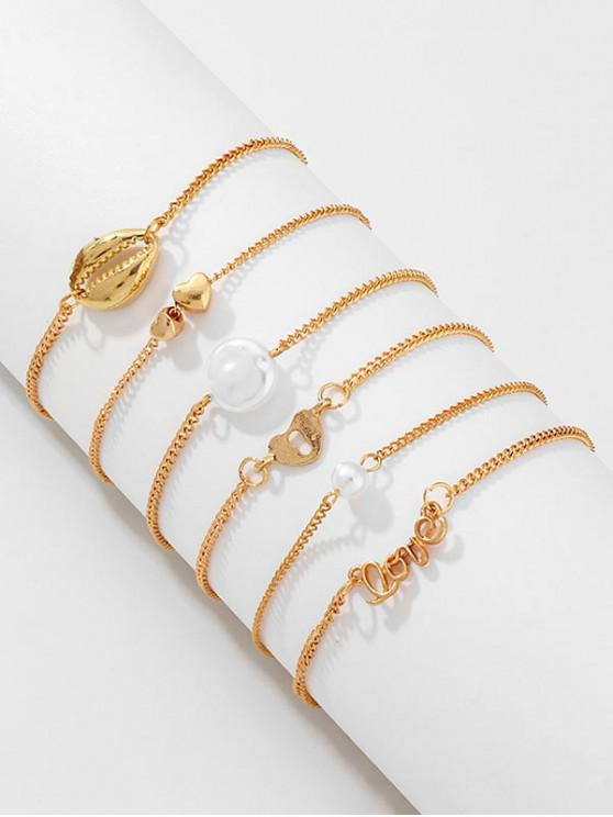 shops Beach Shell Faux Pearl Bracelet Set - GOLD