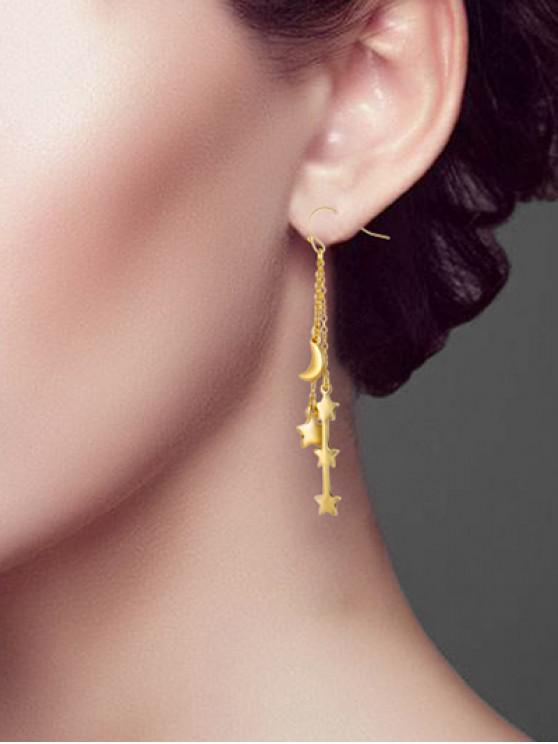 online Star Moon Long Chain Hook Earrings - GOLD