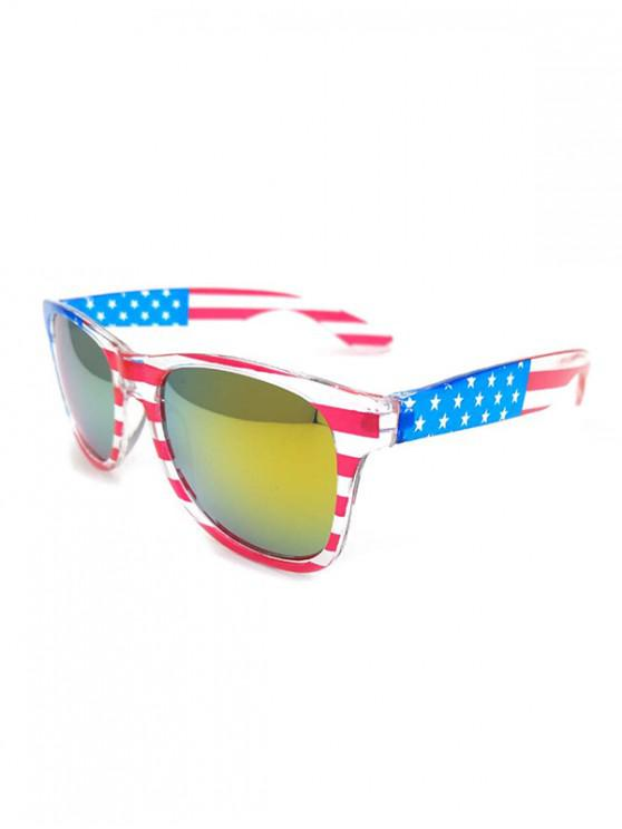 online PC Design American Flag Sunglasses - GREEN YELLOW
