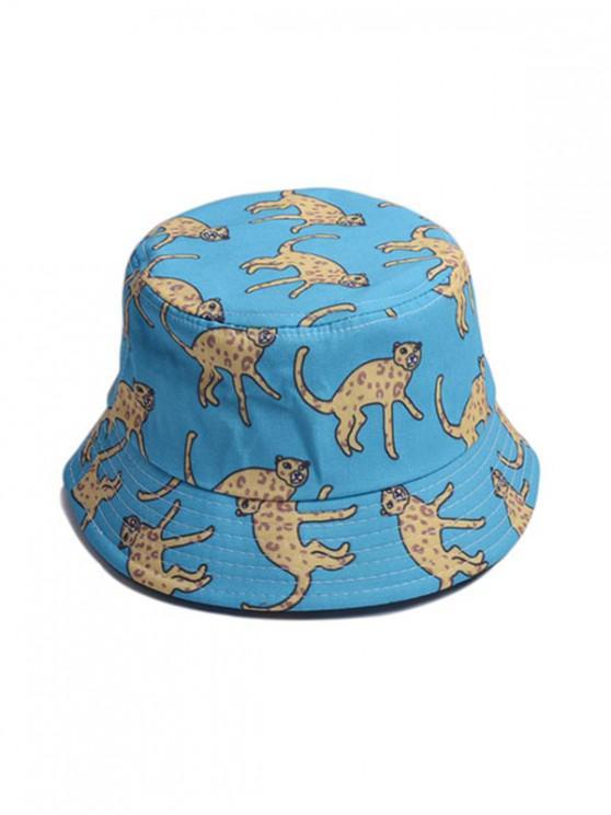 للجنسين طباعة الحيوان شيك دلو قبعة - أزرق