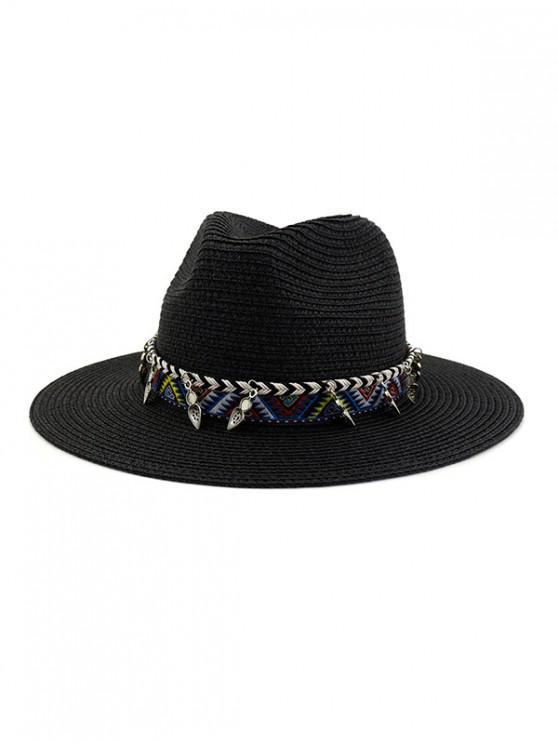 Sombrero de paja estilo playa, correa decorada para exteriores - Negro