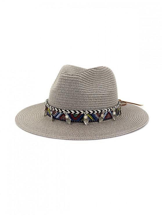 Chapéu de Tartã de Costura de Bordado de Palha de Coco para Mulheres - Cinzento