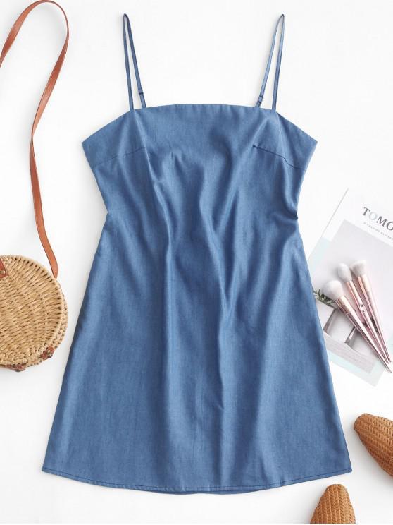 fashion ZAFUL Chambray Knotted Back Short Cami Dress - DENIM BLUE L