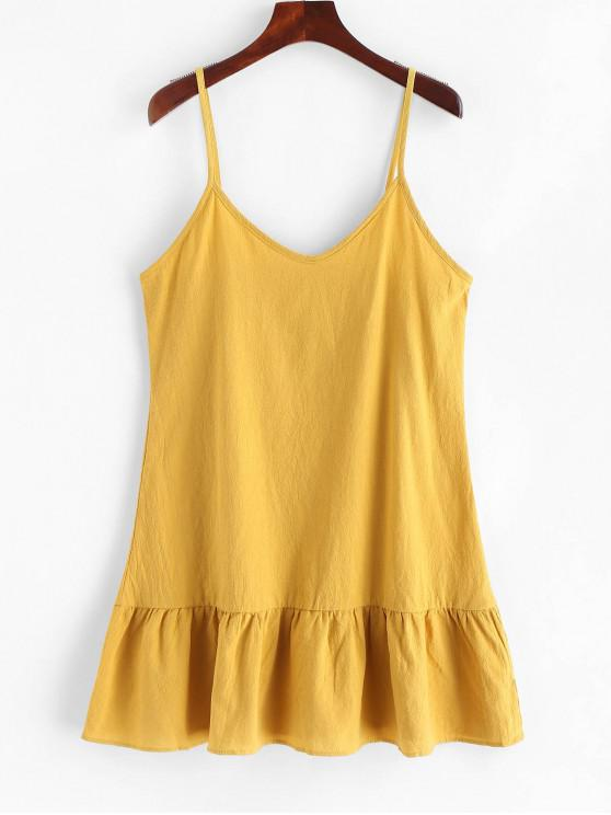 Mini Vestido Cami De Color Sólido - Amarillo Brillante M