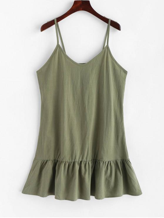 Mini Robe à Bretelle en Couleur Unie - Vert Foncé de Mer L