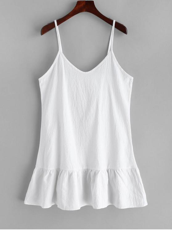 lady Solid Color Mini Cami Dress - WHITE S