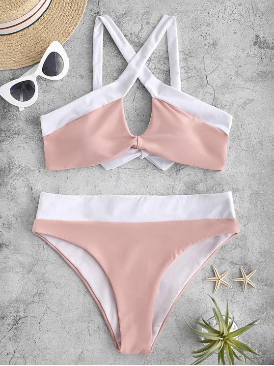 unique ZAFUL Cross Color Block Bikini Swimsuit - LIGHT PINK L