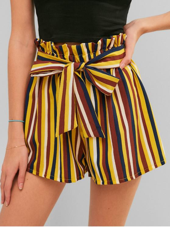 womens Contrast Striped Knotted Paperbag Shorts - MULTI-A L