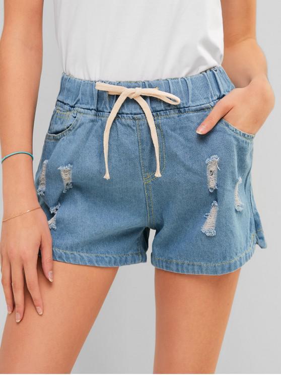 best Drawstring Ripped Jean Shorts - DENIM BLUE L