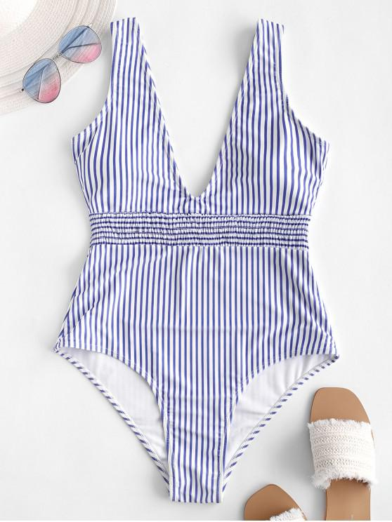shop ZAFUL Shirred Plunge Striped One-piece Swimsuit - DAY SKY BLUE M