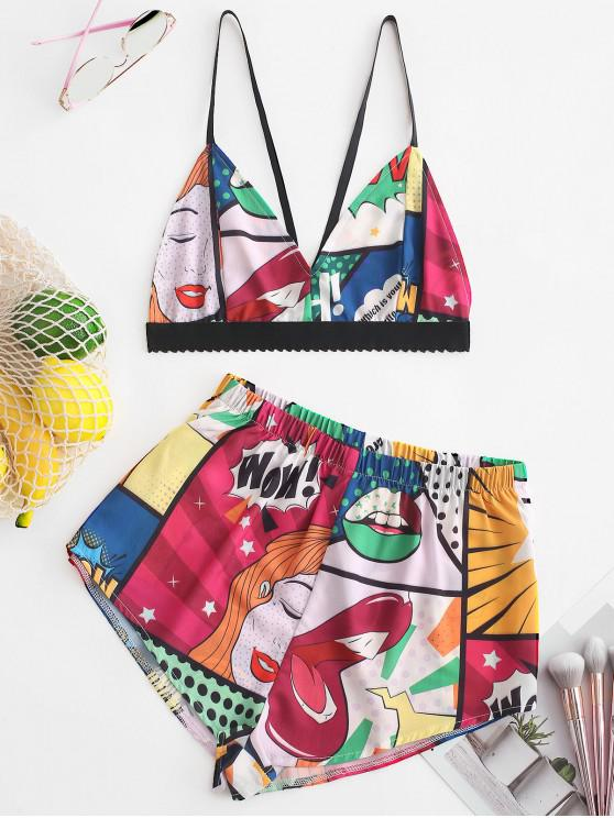 buy ZAFUL Color Block Printed Cami Crop Top and Shorts Set - MULTI M