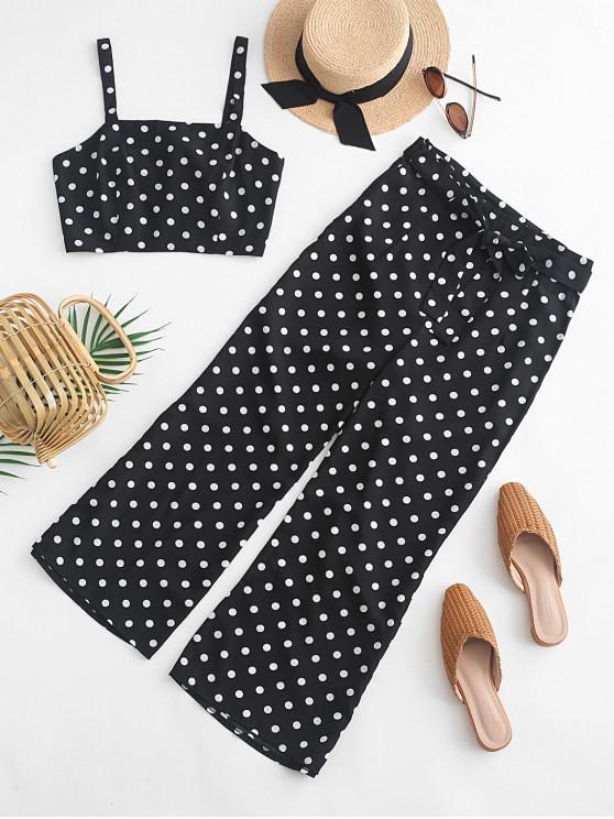 women ZAFUL Smocked Polka Dot Crop Top and Belted Pants Set - BLACK L