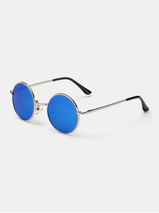 outfits Polarized Round Metal Frame Sunglasses - CRYSTAL BLUE