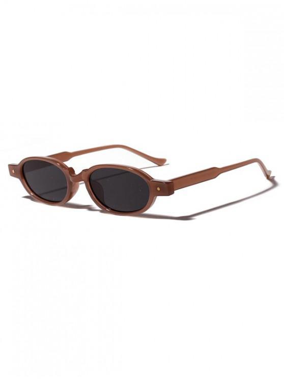 outfits Oval Frame Rivet Design Sunglasses - BROWN BEAR