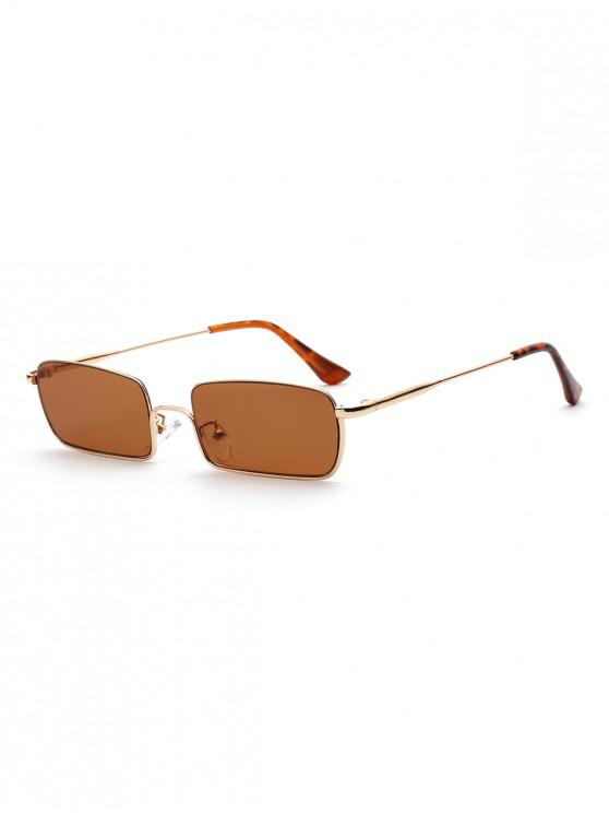 shop Unisex Rectangle Metal Frame Stylish Sunglasses - LIGHT BROWN