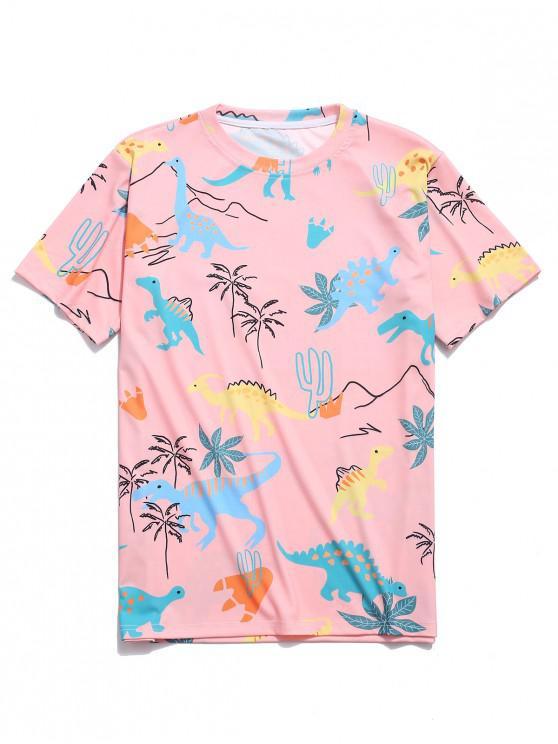 ladies Short Sleeves Dinosaur Plant Print T-shirt - ORANGE PINK M