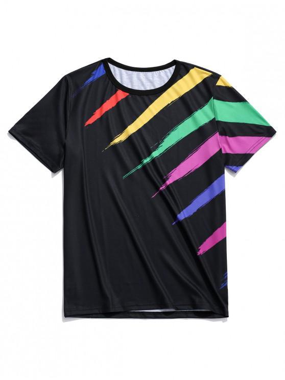 Camiseta de manga corta con estampado de rayas de arco iris - Negro 3XL