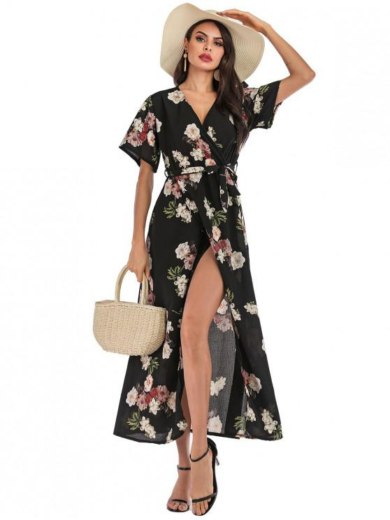 ladies Surplice Floral Boho Belted Slit Dress - MULTI-A L