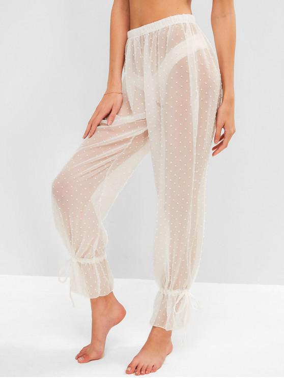 buy Drawstring Ankle Swiss Dot Sheer Pants - WHITE ONE SIZE
