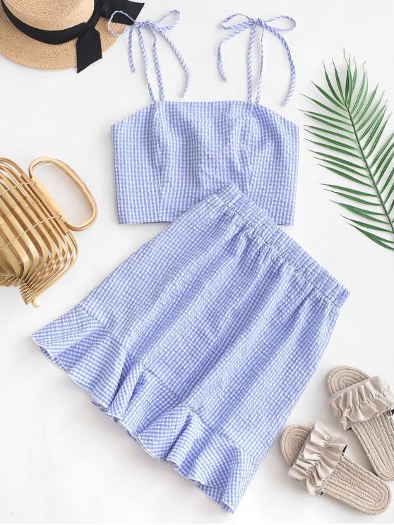 trendy ZAFUL Smocked Gingham Tie Shoulder Top and Flounce Skirt Set - BLUE S