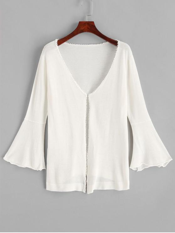 shops Bell Sleeve Collarless Beach Cover Up - WHITE ONE SIZE