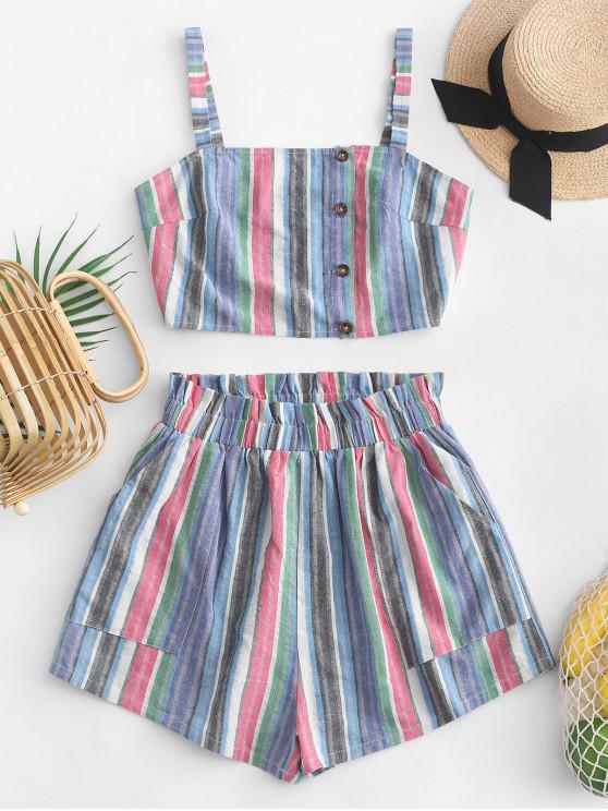 womens ZAFUL Colorful Striped Pocket Paperbag Shorts Set - MIDNIGHT BLUE L