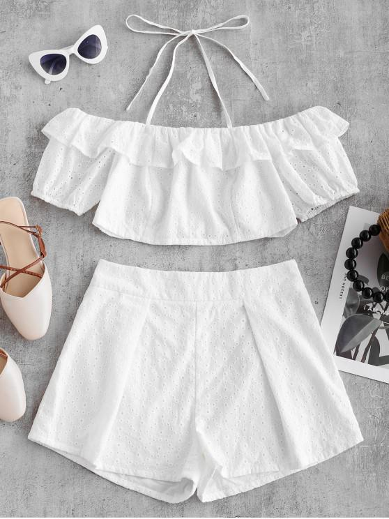 outfits ZAFUL Broderie Anglaise Ruffled Crop Top and Shorts Set - WHITE M