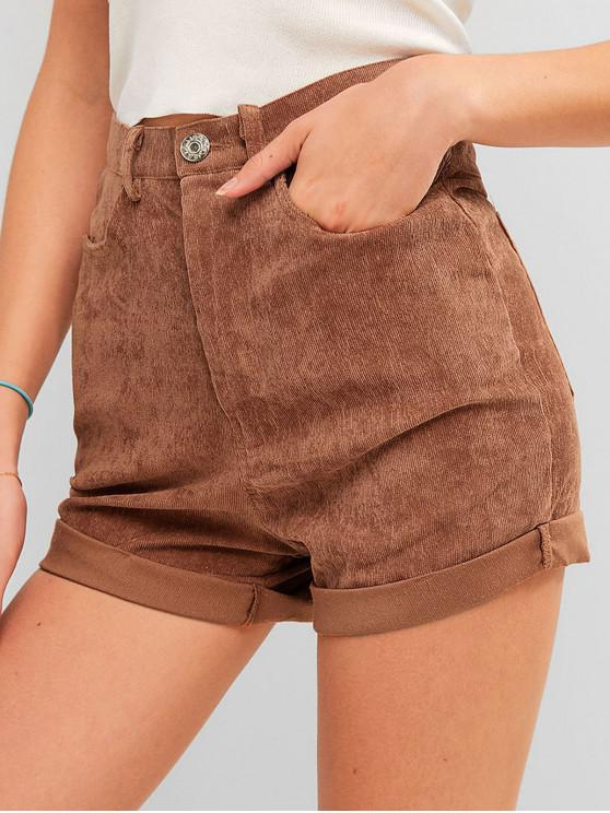 best High Waisted Plain Cuffed Shorts - CHESTNUT M