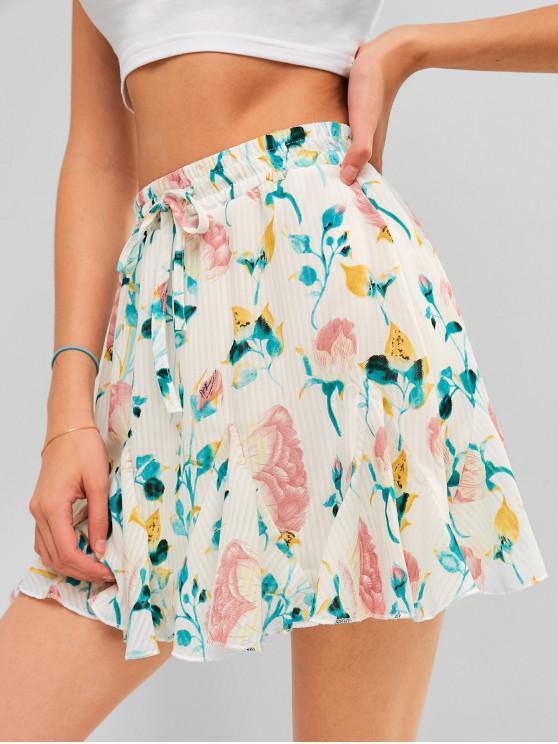 women Floral Print Drawstring A Line Skirt - WHITE XL