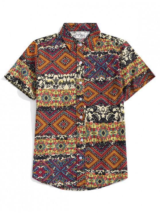 trendy Ethnic Tribal Floral Geometric Print Shirt - WOOD L
