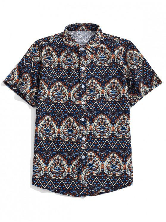 affordable Ethnic Tribal Ditsy Shirt - NAVY BLUE L