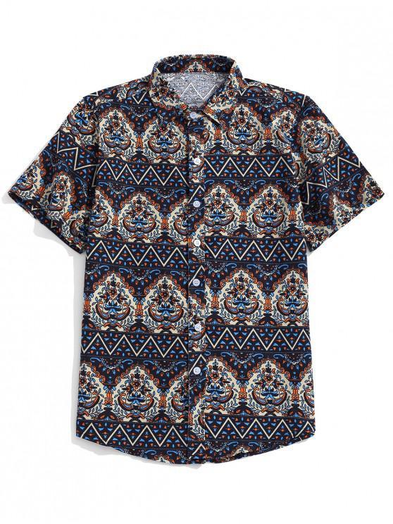 women Ethnic Tribal Ditsy Shirt - NAVY BLUE 3XL