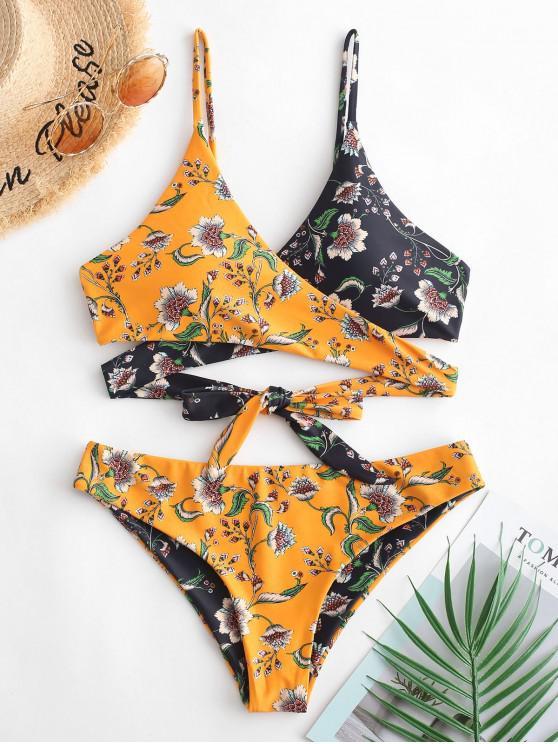 trendy ZAFUL Bohemian Plant Print Reversible Wrap Bikini Swimsuit - MULTI-A L