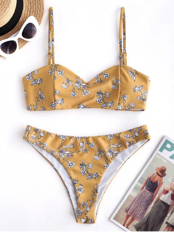 ZAFUL مصنع طباعة عقدة Bralette بيكيني ملابس السباحة - نحلة صفراء L