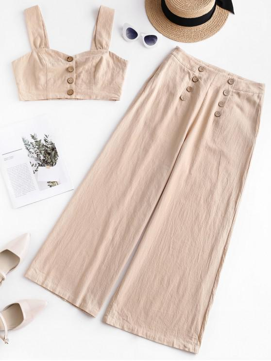 chic ZAFUL Knotted Smocked Top and Wide Leg Pants Set - APRICOT S