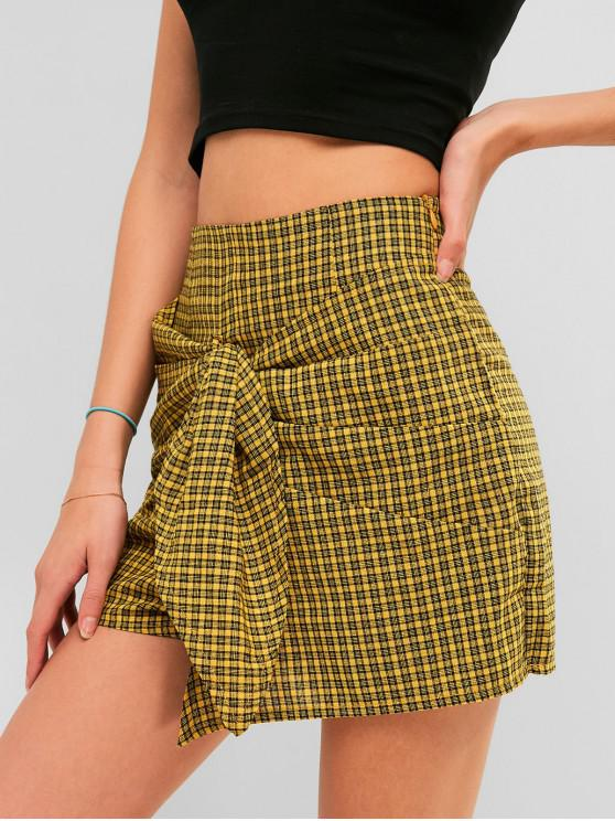 trendy High Waist Knotted Gingham Shorts - GOLDENROD L