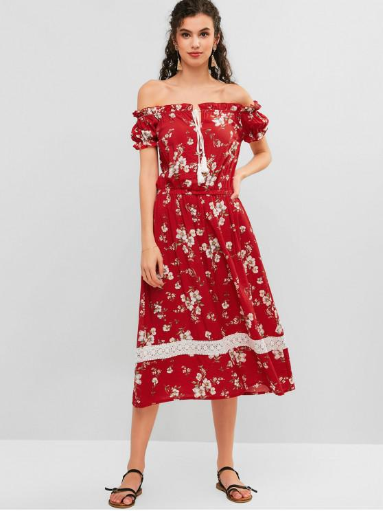 a94ead1a4e 26% OFF] 2019 ZAFUL Floral Off Shoulder Frilled Crochet Panel Dress ...