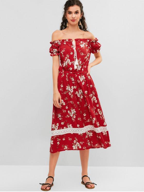 ZAFUL الأزهار معطلة الكتف منتفخ الكروشيه لوحة اللباس - الحمم الحمراء L