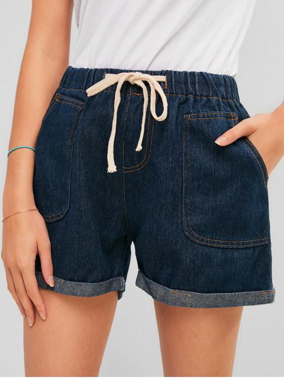 fancy Drawstring Cuffed Denim Shorts - DENIM DARK BLUE XL