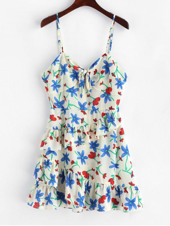 women ZAFUL Floral Tiered Tied Cami Dress - MILK WHITE L