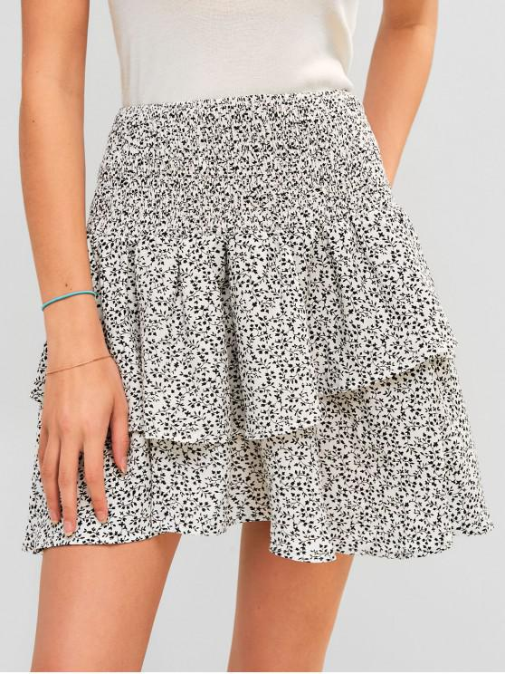 outfit ZAFUL Flounce Printed Smocked Mini Skirt - WHITE M