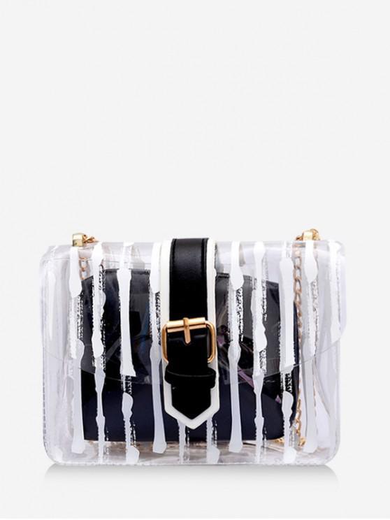 ladies Transparent Striped Square Crossbody Bag - BLACK