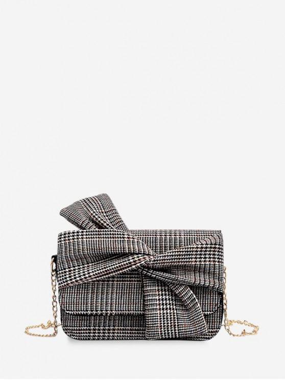 BOWKNOT الديكور Houndstooth طباعة حقيبة كروسبودي - أسود