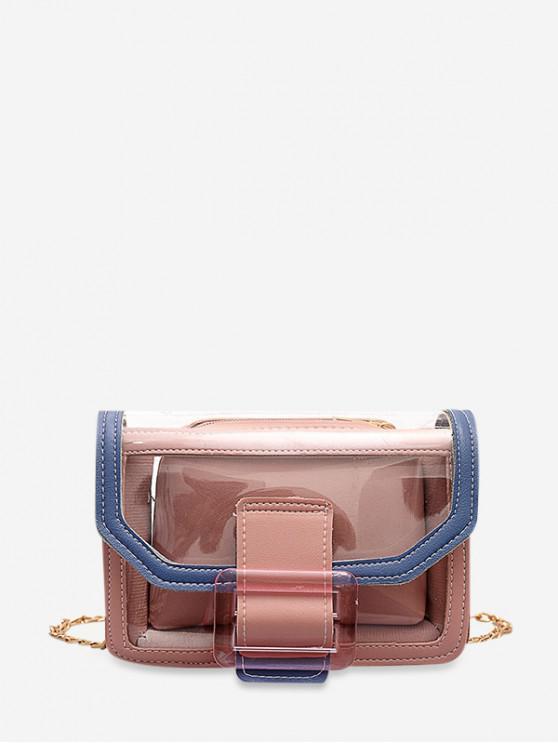 new Transparent Contrast Color Square Bag - FLAMINGO PINK
