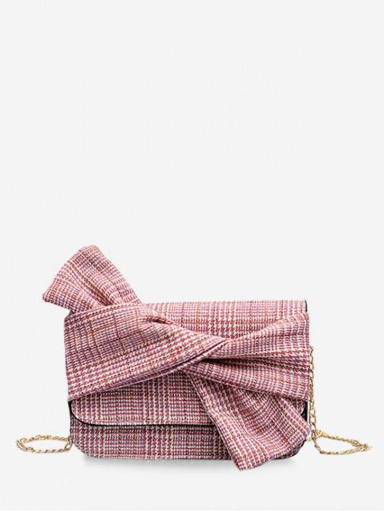 outfits Bowknot Decoration Houndstooth Print Crossbody Bag - FLAMINGO PINK