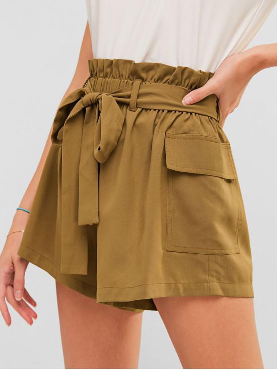 ZAFUL Short Paperbag avec Poche à Volants - Marron Camel S