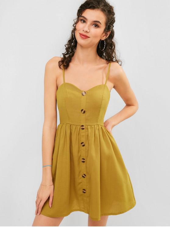fashion ZAFUL Button Embellished Smocked Cami Dress - GINGER BROWN S