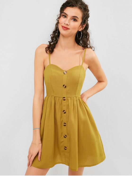 buy ZAFUL Button Embellished Smocked Cami Dress - GINGER BROWN M