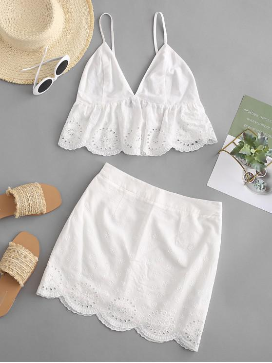 fancy ZAFUL Eyelet Scalloped Bodycon Skirt Set - WHITE L